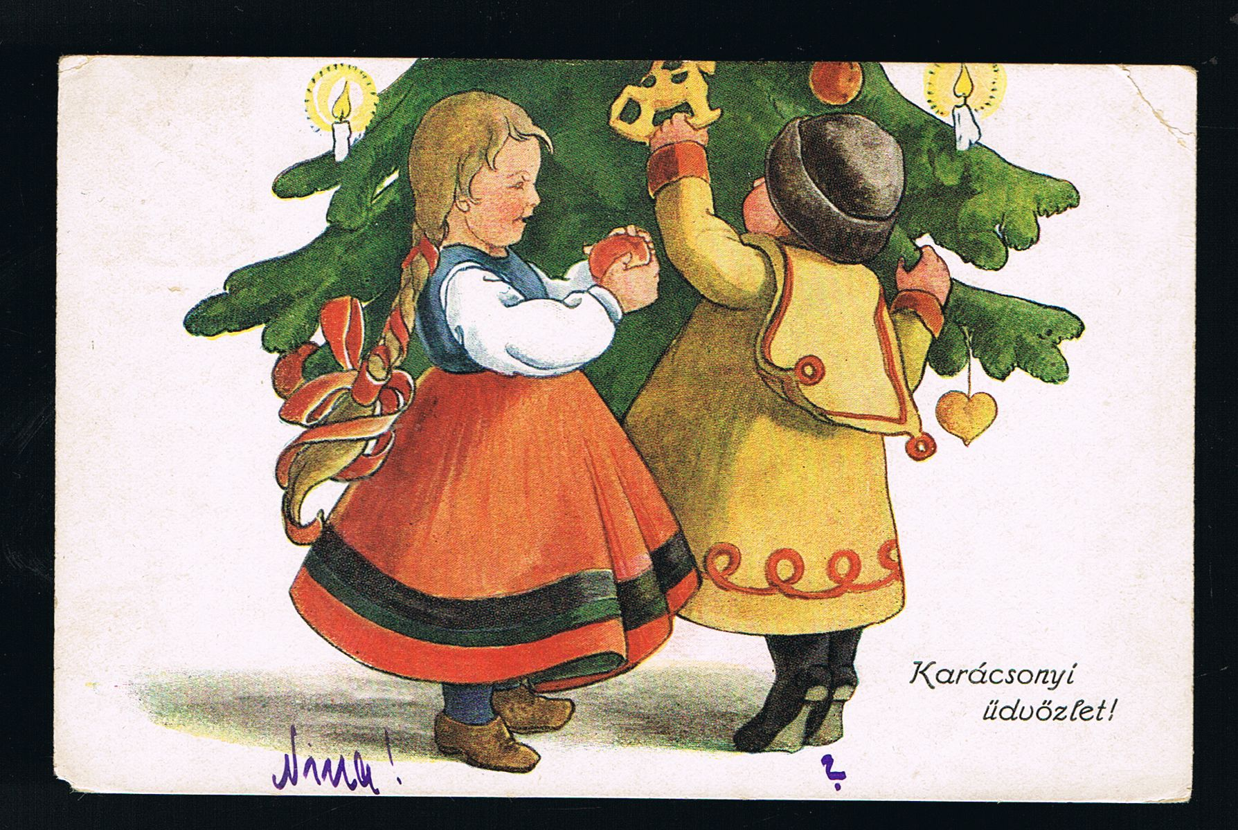 Image for Hungarian (?) Christmas Tree Children Postcard