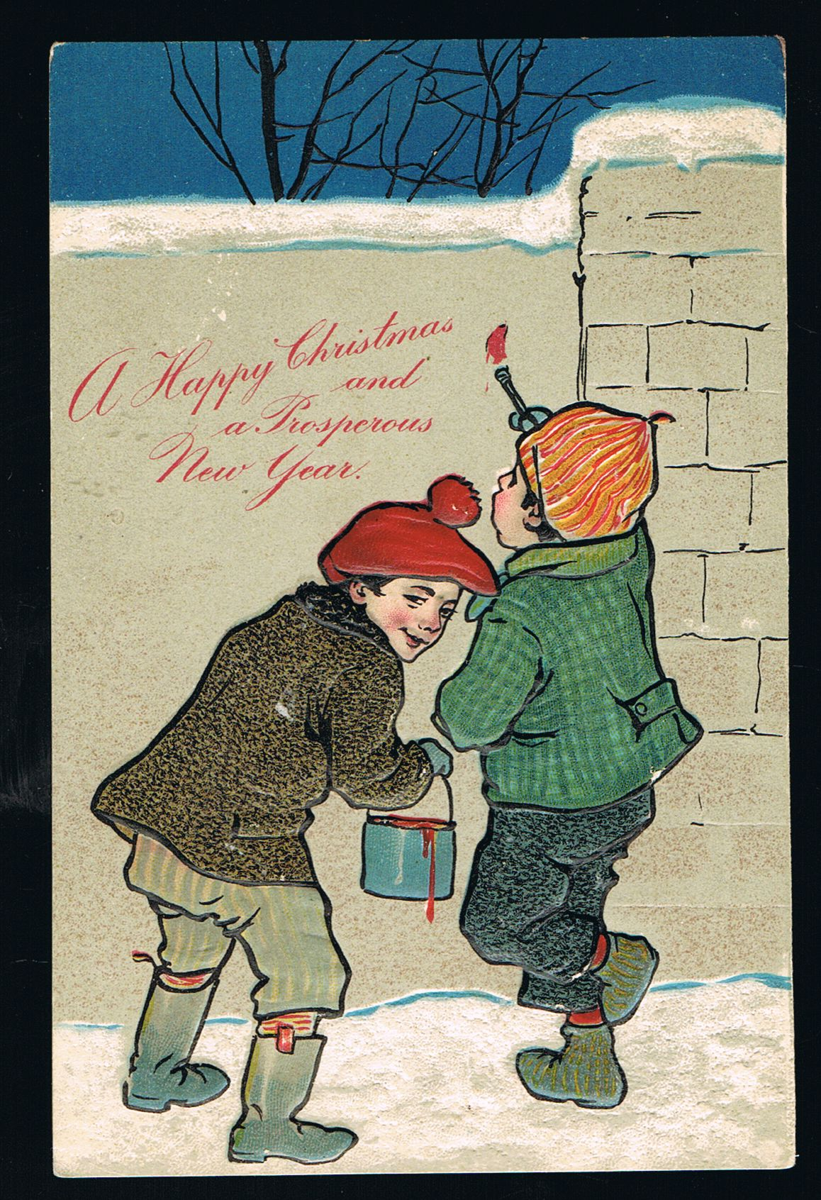 Image for Christmas Boys Paint Wall Embossed Postcard