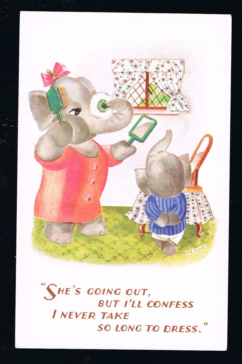 Image for She's Going Out Elephant Postcard