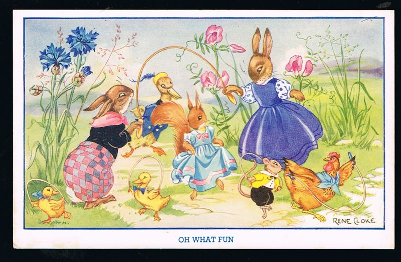 Image for Oh What Fun Rabbits & Squirrels Postcard