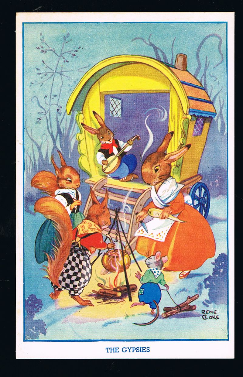 Image for The Gypsies Rabbits & Squirrels Postcard