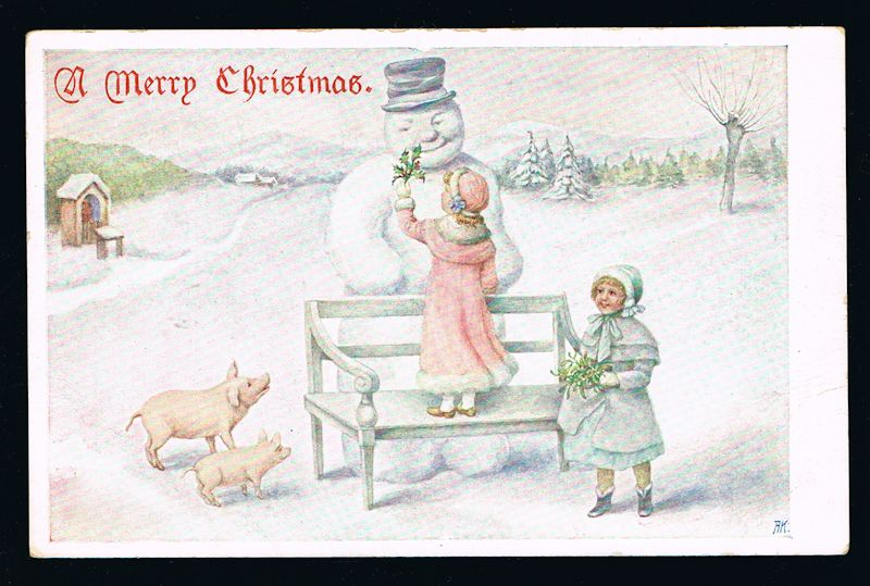 Image for Christmas Children and Snowman Postcard