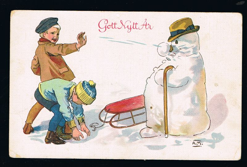 Image for Children & Snowman Swedish New Year Postcard