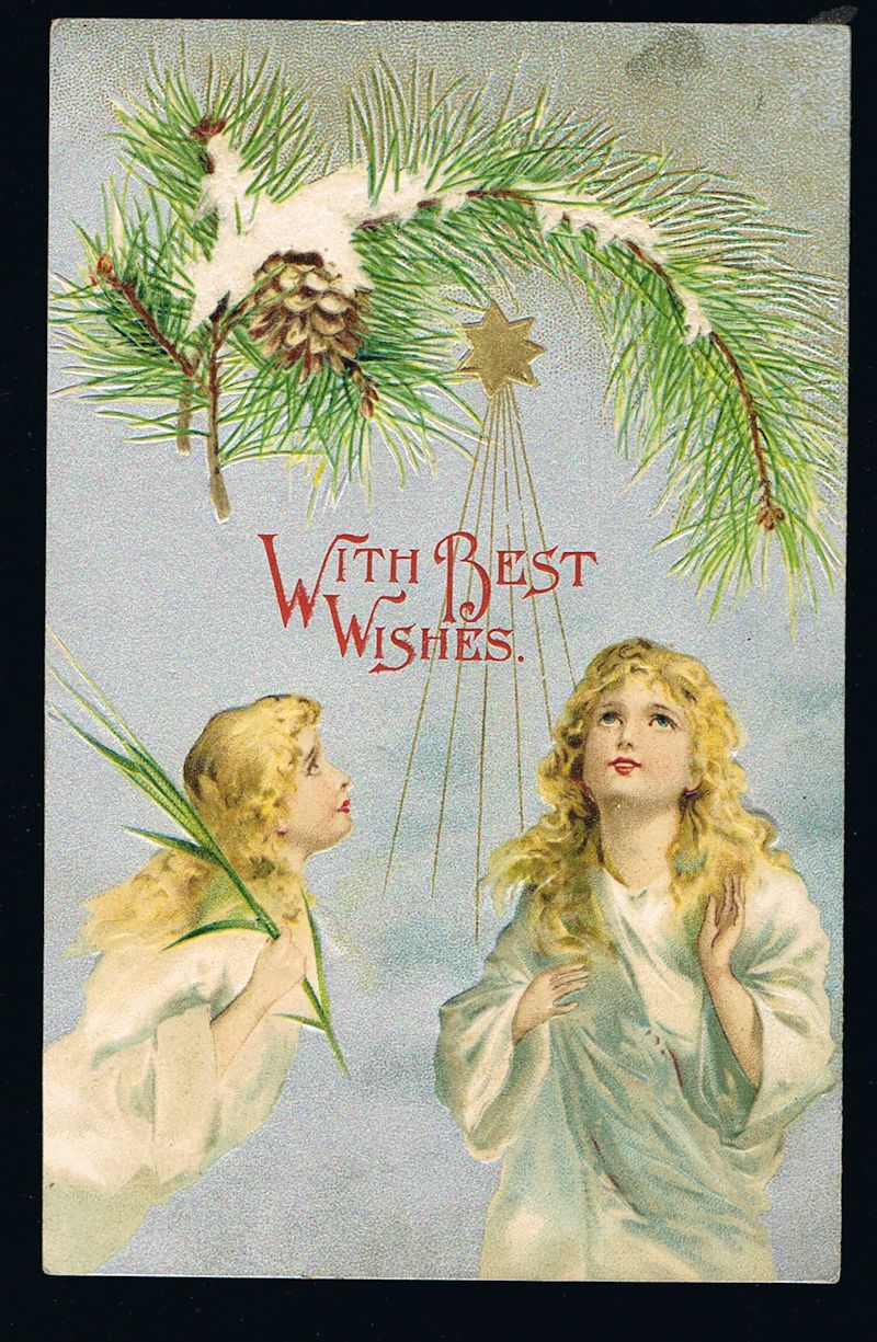 Image for Angels & Star Embossed Christmas Postcard