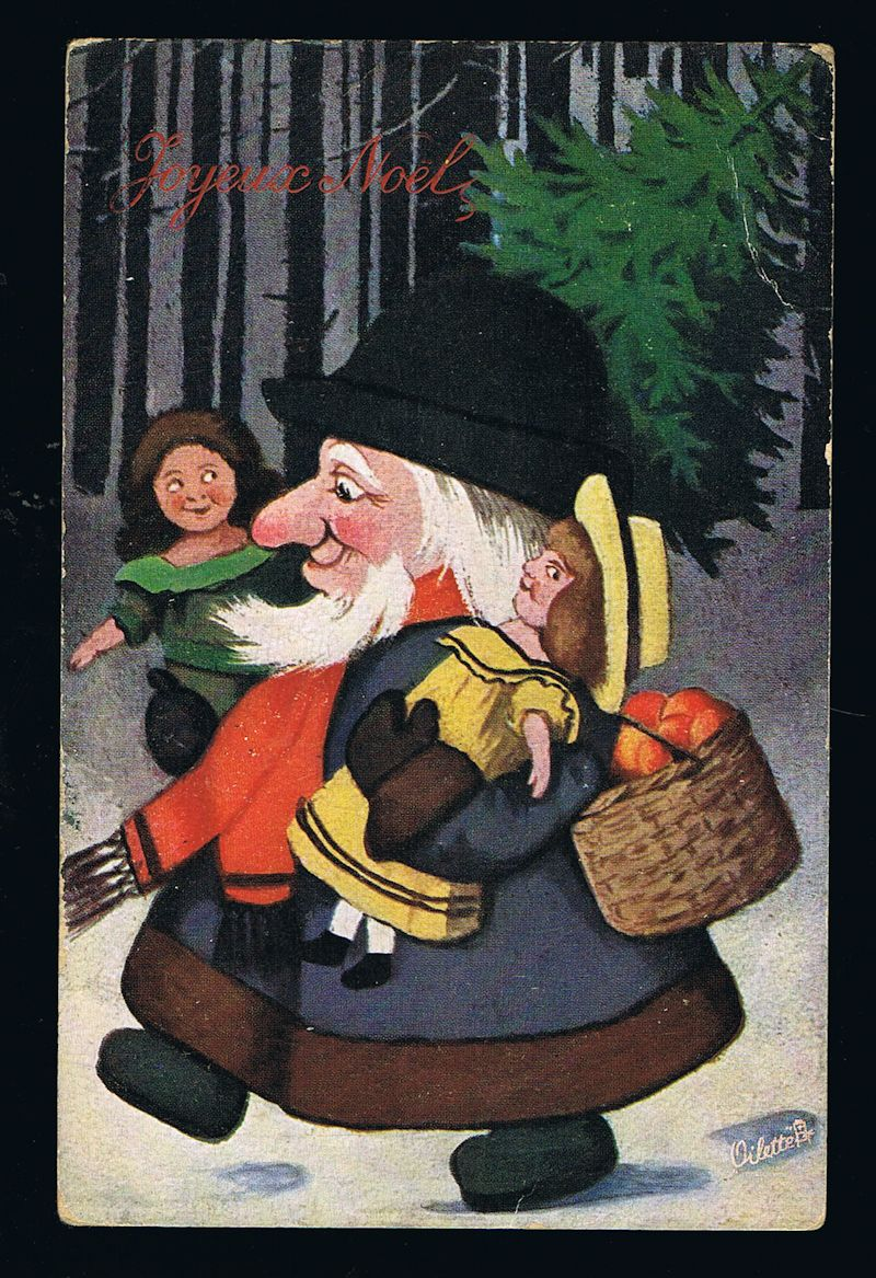 Image for Christmas Gnome Elf in Forest with Toys Postcard