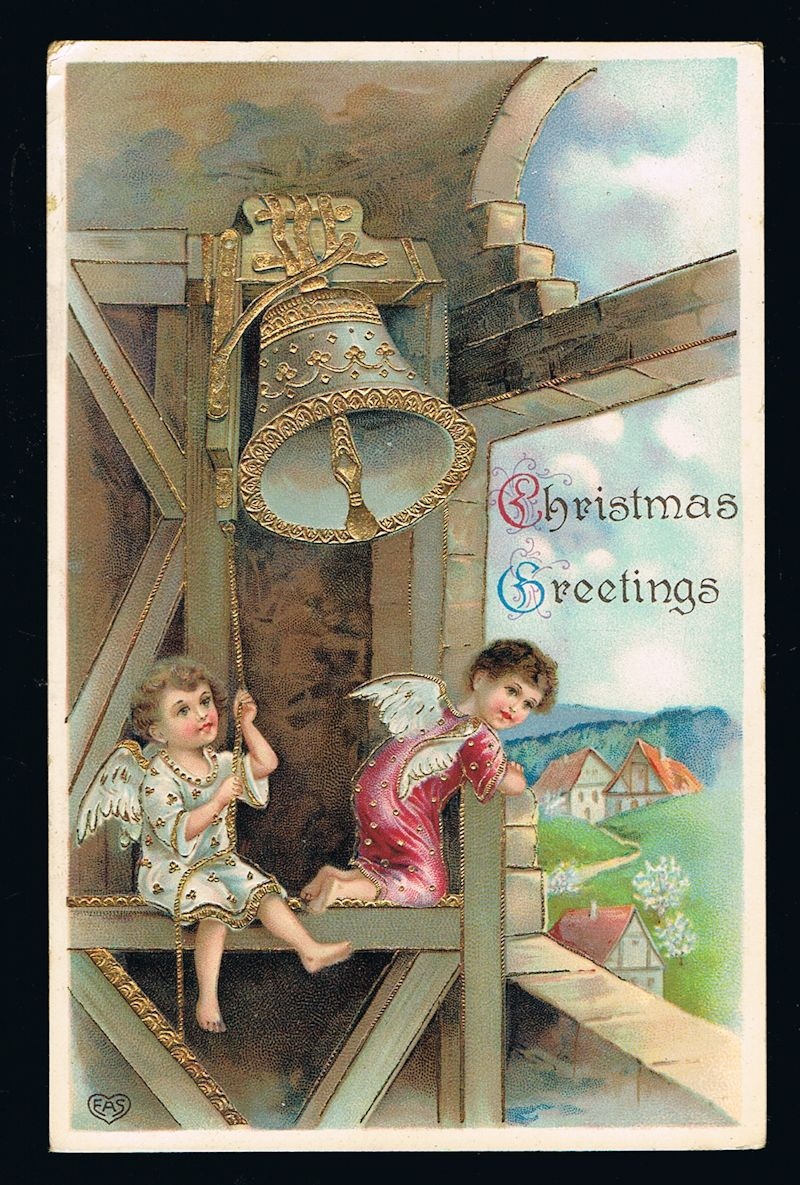 Image for Angels & Bell Christmas Postcard