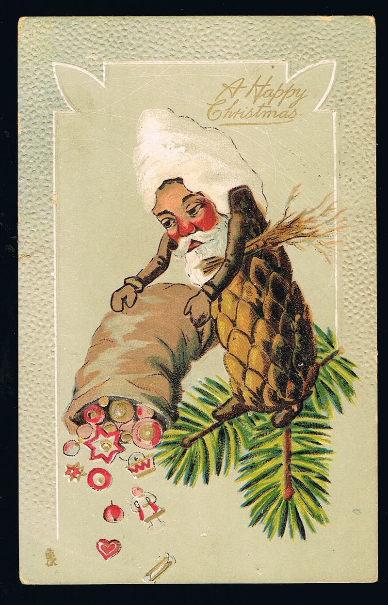 Image for Fantasy Pine Cone Father Christmas Elf Embossed Postcard