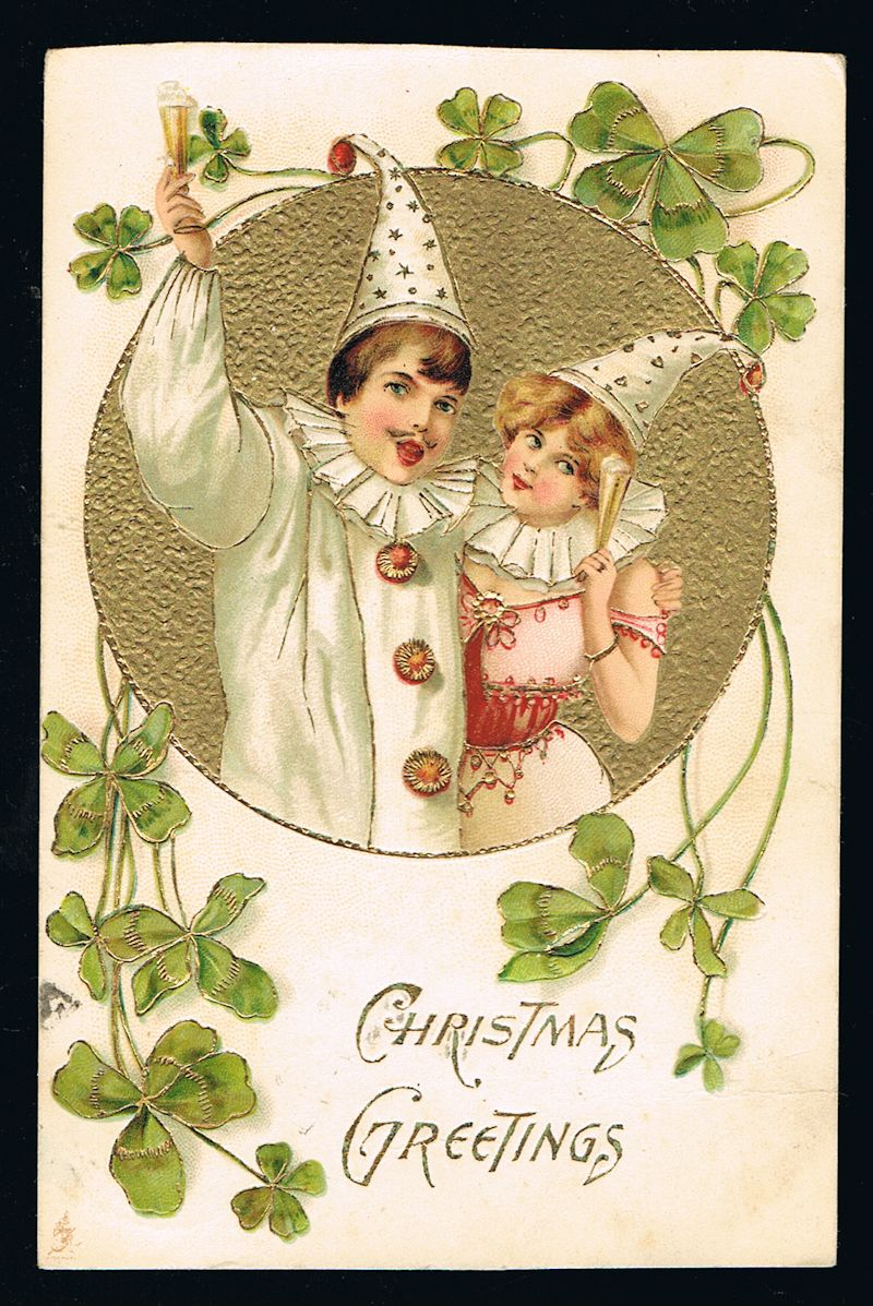 Image for Christmas Pierrot Clowns Embossed Christmas Postcard